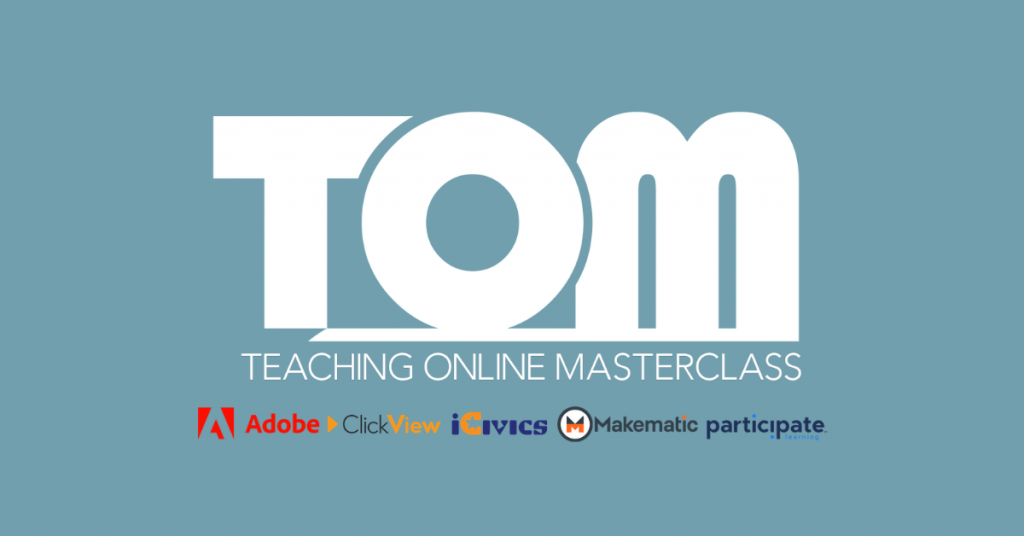 Teaching Online Masterclass logo with logos from Adobe, ClickView, iCivics, Makematic and Participate