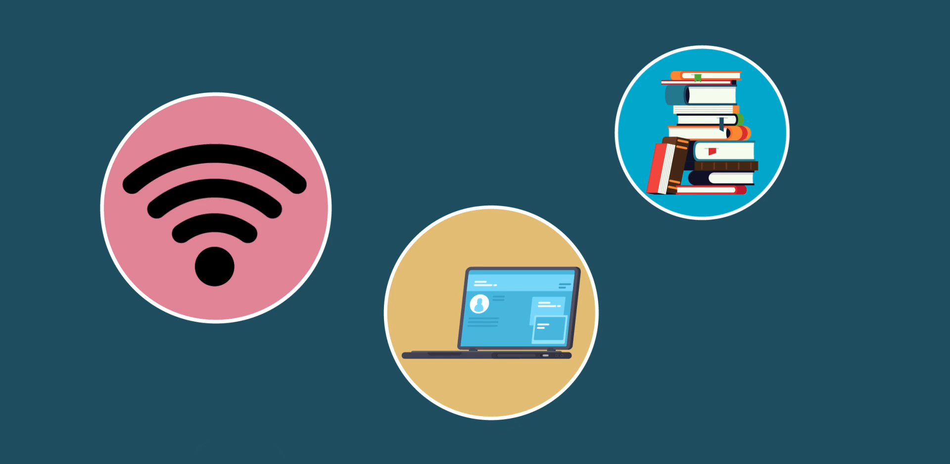 Animated drawing of wifi symbol, books and laptop to show different methods of teaching