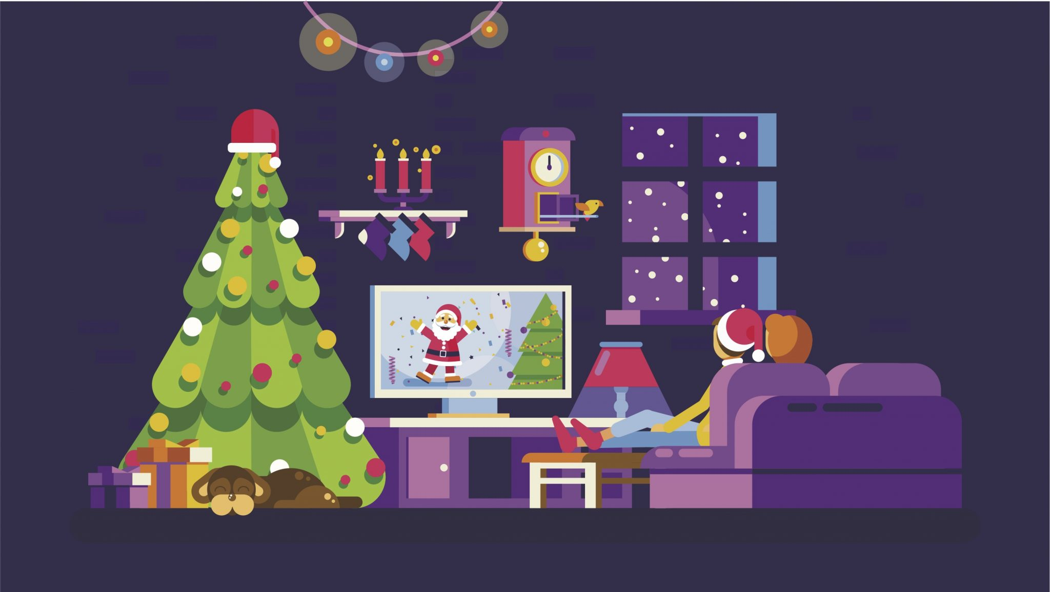 Illustration of two people sitting on the couch watching TV. TV features Santa Clause