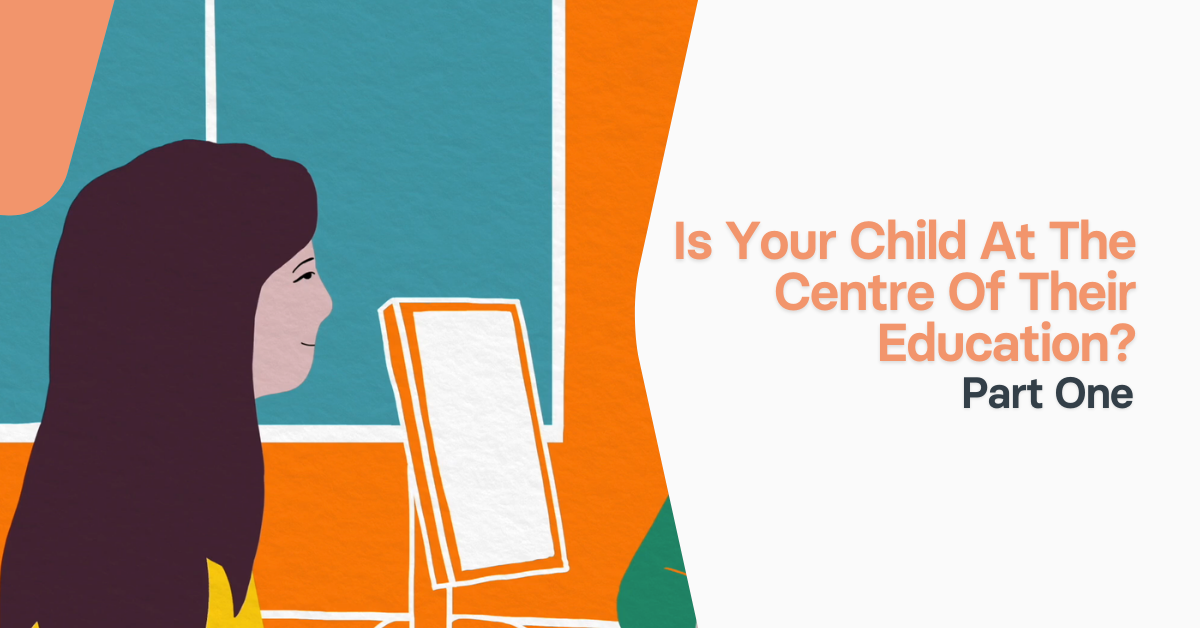 Is your child at the centre of their education text with illustration of young girl sitting in front of a computer