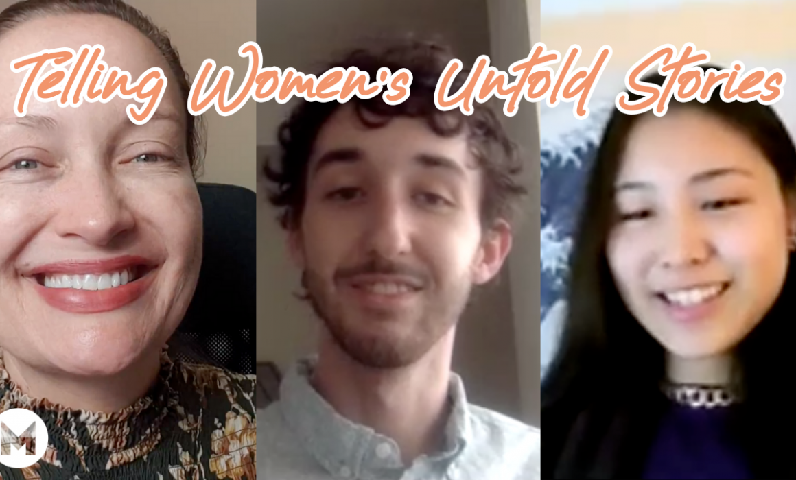 telling women's untold stories text with three individuals